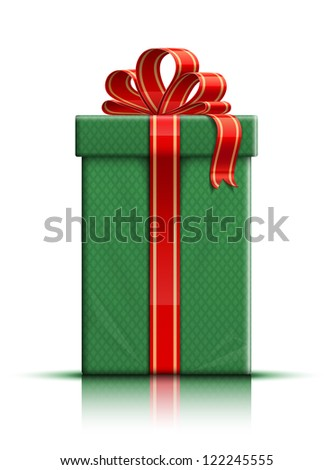 Very realistic illustration of green gift box with ribbon and bow. Raster version - stock photo