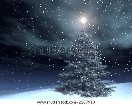 very realistic xmas tree in a snowing night - stock photo