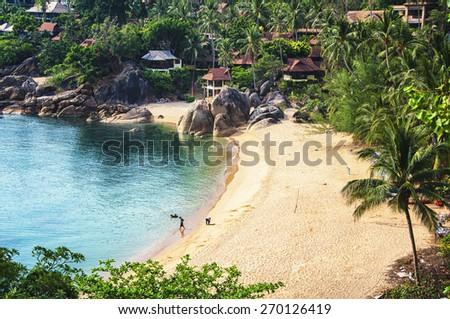 Very secure beach (Silver) at thai island Koh Samui, Thailand - stock photo