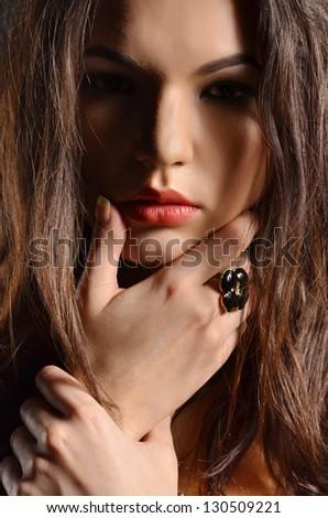 Very seductive portrait of woman - stock photo