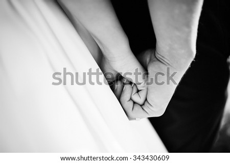 Very sensual and gorgeous wedding couple on the picturesque landscapes - stock photo