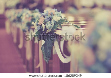 Very small depth of field,Bouqest Wedding Decorate - stock photo