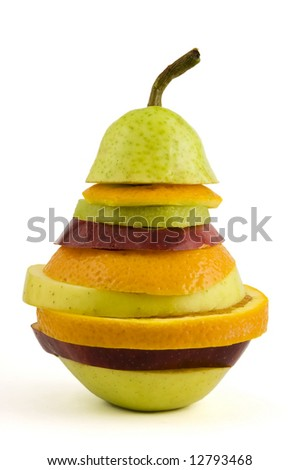 Very special fruit salad made with some slices of different fresh fruits isolated on white background.