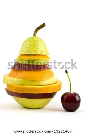 Very special fruit salad made with some slices of different fresh fruits with single cherry isolated on white background.