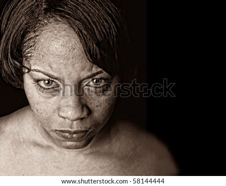 Very Striking Image of a afro american woman with anger