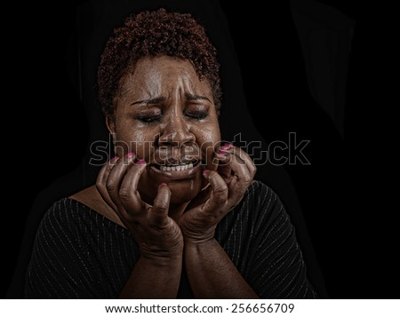 Very strong Emotional Image of a suffering Woman - stock photo