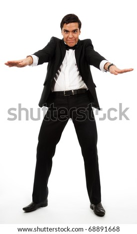 Very surprised business man part his hands and clench his teeth, wearing formal clothes - stock photo