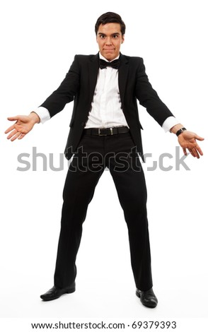 Very surprised business man part his hands, wearing formal clothes