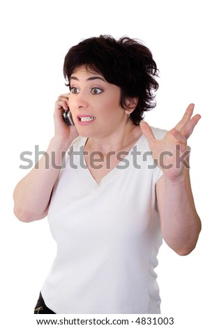 very surprised girl on the phone - stock photo