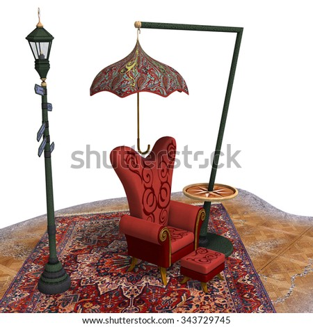 very surreal rendering of a chair with funny elements. 3D rendering of a fantasy theme for background usage. - stock photo