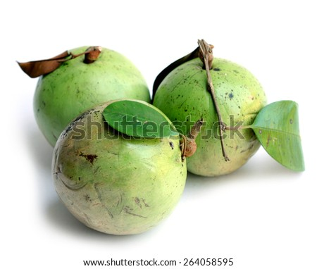 very sweet green color star apple fruit (Swarnapathry) on white