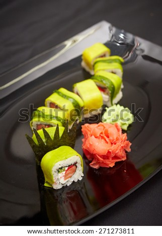 very tasty and delicious sushi freshly prepared - stock photo