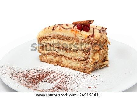 Very tasty sweet desert on white background  - stock photo