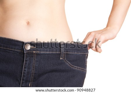 Very thin stubborn woman in jeans