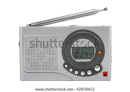 Very tiny silvery digital radio with the thick aerial. Isolated on white. Mass production.