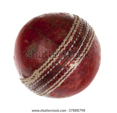 very used cricket ball, isolated on white - stock photo