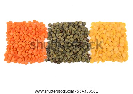 very useful lentils isolated on white background