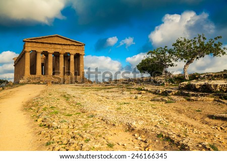 very well-preserved Greek ruins of Concordia Temple in the Valley of Temples near Agrigento, Sicily - stock photo