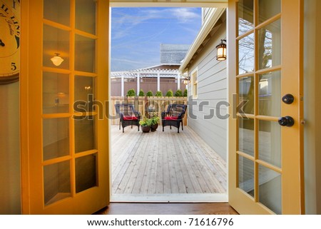 Very well remodeled home with small back yard in Tacoma, WA - stock photo