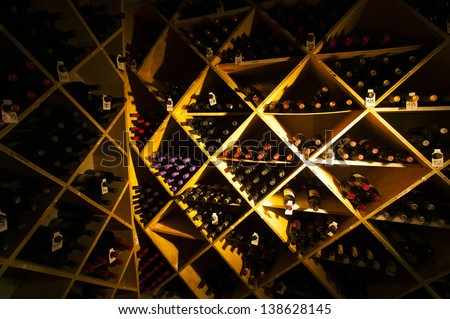 Very well stocked wine cellar. - stock photo