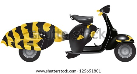 vespa scooters 50 years in white background
