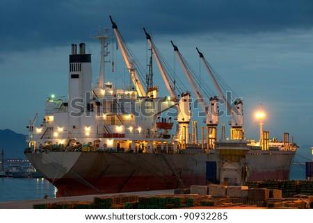 Vessel in the harbor - stock photo