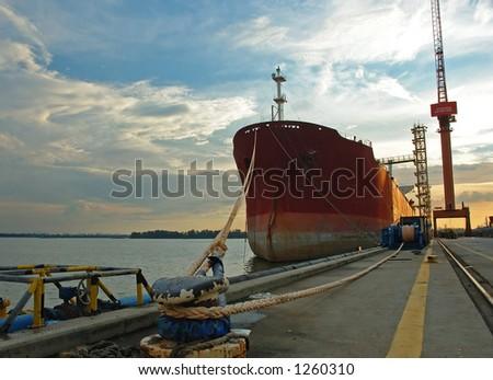 vessel moored II - stock photo