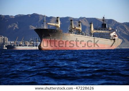 vessel on sea in Jordan - stock photo