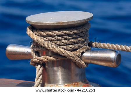 Vessel part with rope - stock photo