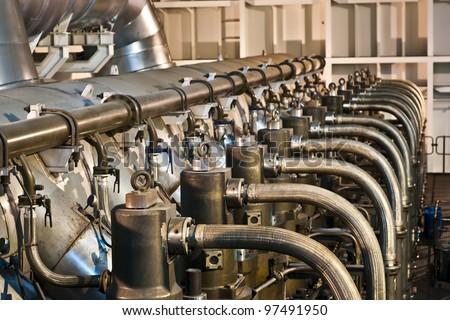 Vessel's Main Engine (head - top) 100 000 HP , V12 - stock photo