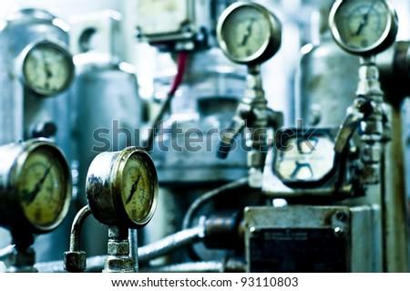 vessel's onboard industrial gauge, purifier room - stock photo