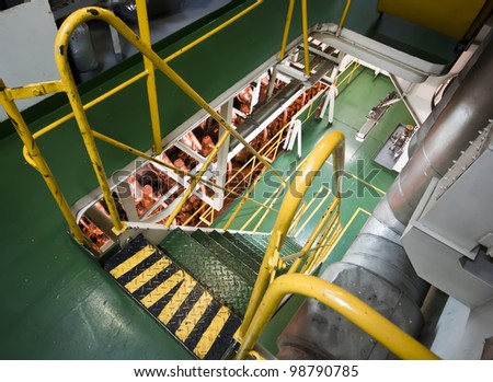 Vessel's ( Ship ) Engine Room Space   / industrial stairs - stock photo