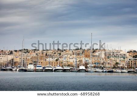Vessels  lying at Marsamxett harbour (Valletta, Malta) - stock photo