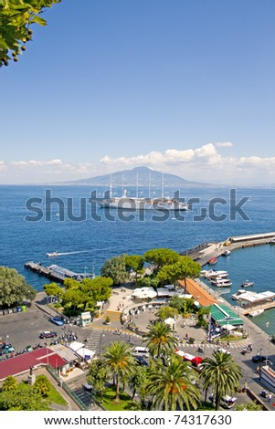 Vesuvius, Naples, cruise ship and Sorrento Wharf