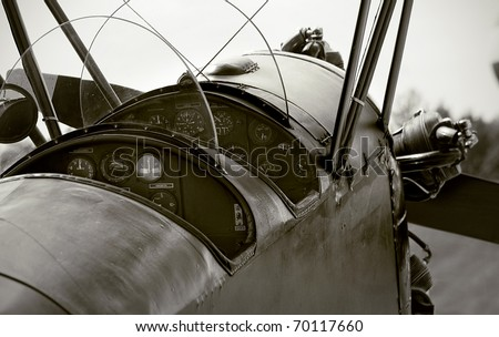veteran airplane cockpit - stock photo