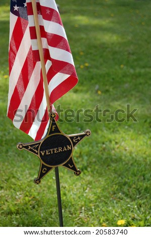 Veteran flag and ceremonial star - stock photo