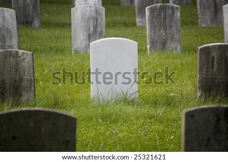 Veteran gravestones sitting in bright green grass. - stock photo