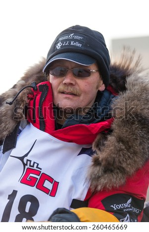 Veteran musher Mitch Seavey at the ceremenial start of the 43rd Annual Iditarod in Anchorage, Alaska on March 7, 2015.