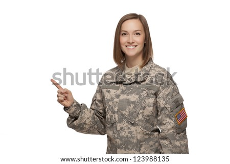 Veteran Soldier Female soldier pointing up - stock photo