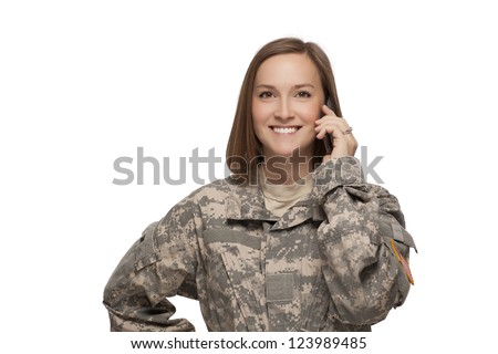 Veteran soldier Female talking on her cell phone - stock photo