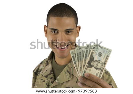 VETERAN SOLDIER | MONEY FOR COLLEGE | PAYDAY LOAN | MILITARY FUNDING| African American Military Man with Money - stock photo