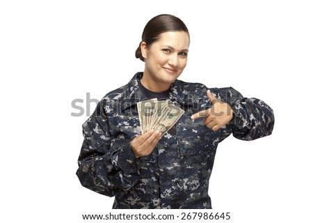 VETERAN SOLDIER | Smiling female navy sailor holding money against white background.  Payday loan | Cash for School | Military Lenders and Lending - stock photo