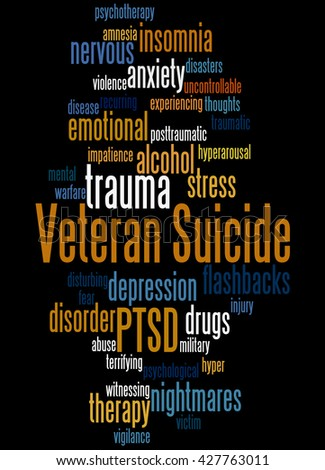 Veteran Suicide, word cloud concept on black background. - stock photo