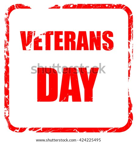 veterans day background, red rubber stamp with grunge edges