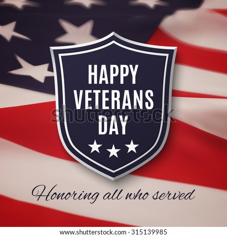 Veterans day background. Shield on American flag background. - stock photo