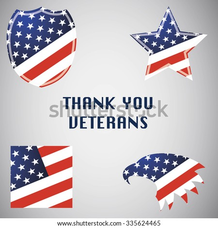 Veterans Day in Usa. Set of emblems. Isolated on Gray. Flag, star, eagle and shield - stock photo
