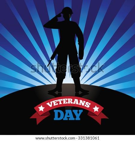 Veterans Day soldier burst design royalty free stock illustration for greeting card, ad, promotion, poster, flier, blog, article, social media, marketing - stock photo