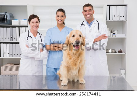 Veterinarian coworker smiling at camera with dog in medical office - stock photo