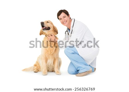 Veterinarian crouching with a dog on white background - stock photo
