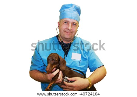 Veterinarian doctor cardiologist and Dachshund. White background.